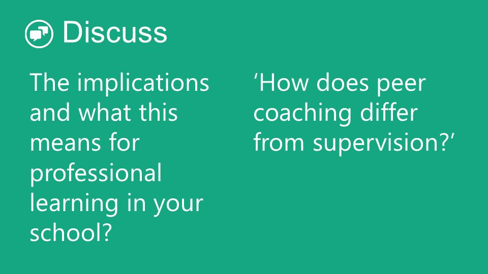 Discuss The implications and what this means for professional learning in your school 'How does peer coaching differ from supervision '