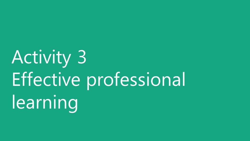 Activity 3 Effective professional learning