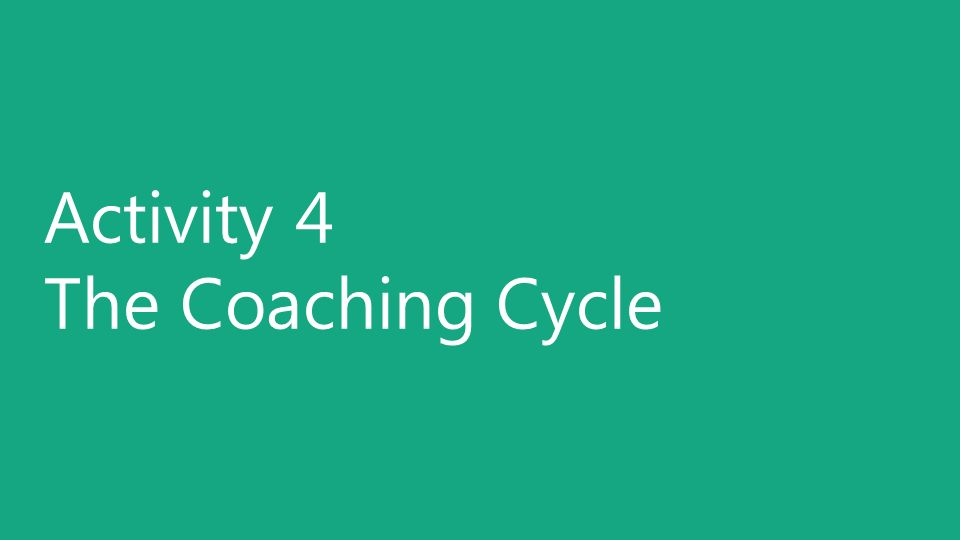 Activity 4 The Coaching Cycle