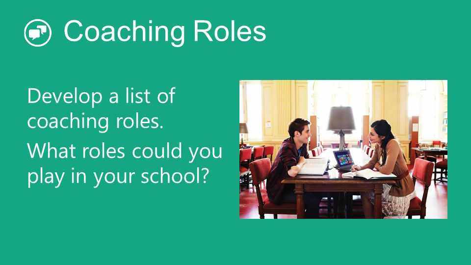Coaching Roles Develop a list of coaching roles. What roles could you play in your school