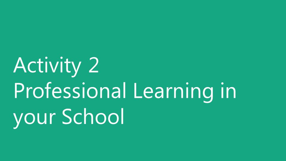 Activity 2 Professional Learning in your School
