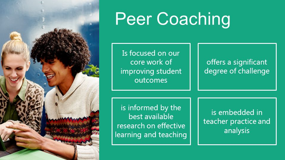 Peer Coaching Is focused on our core work of improving student outcomes. offers a significant degree of challenge.