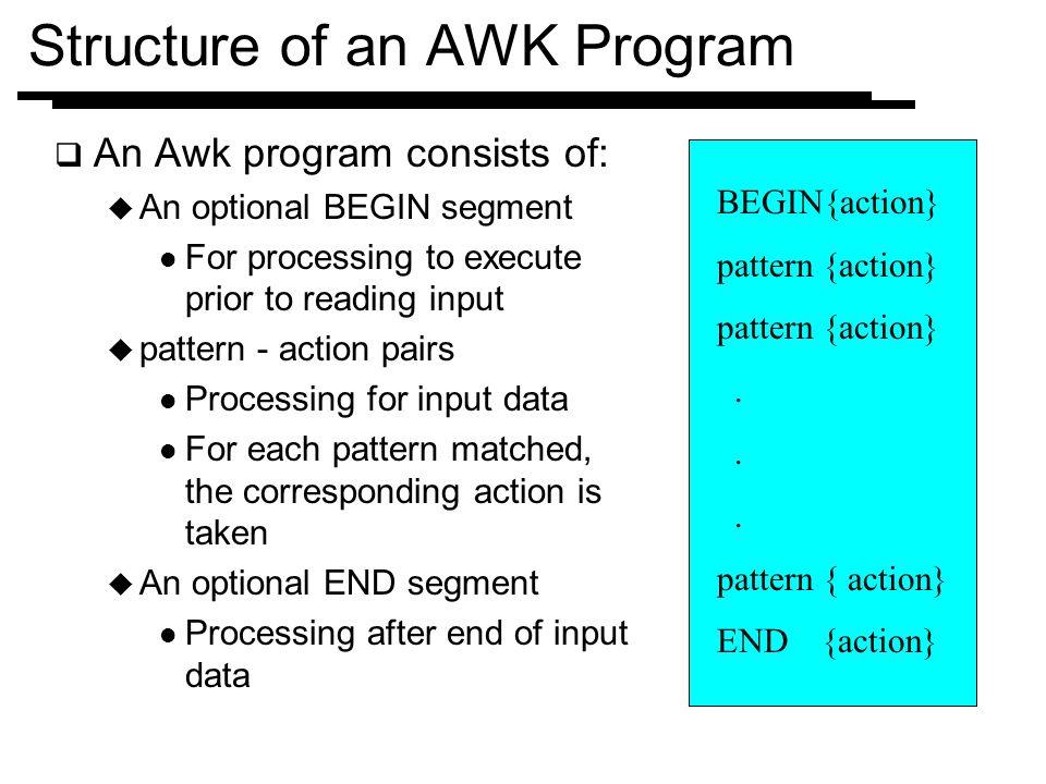 Structure Of An AWK Program