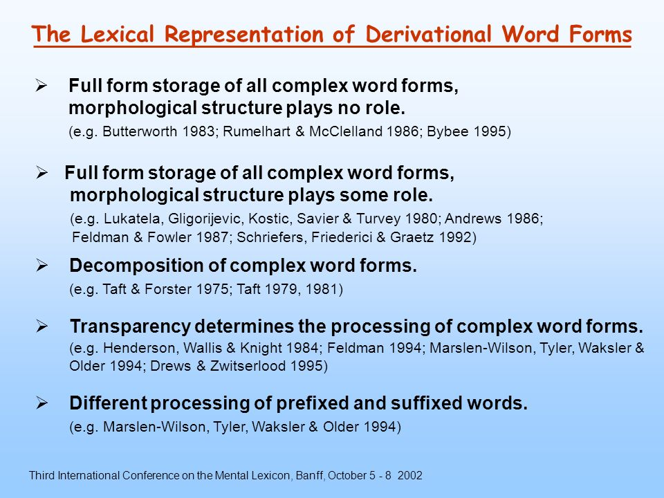 Prefixed Word Forms in the German Mental Lexicon - ppt download