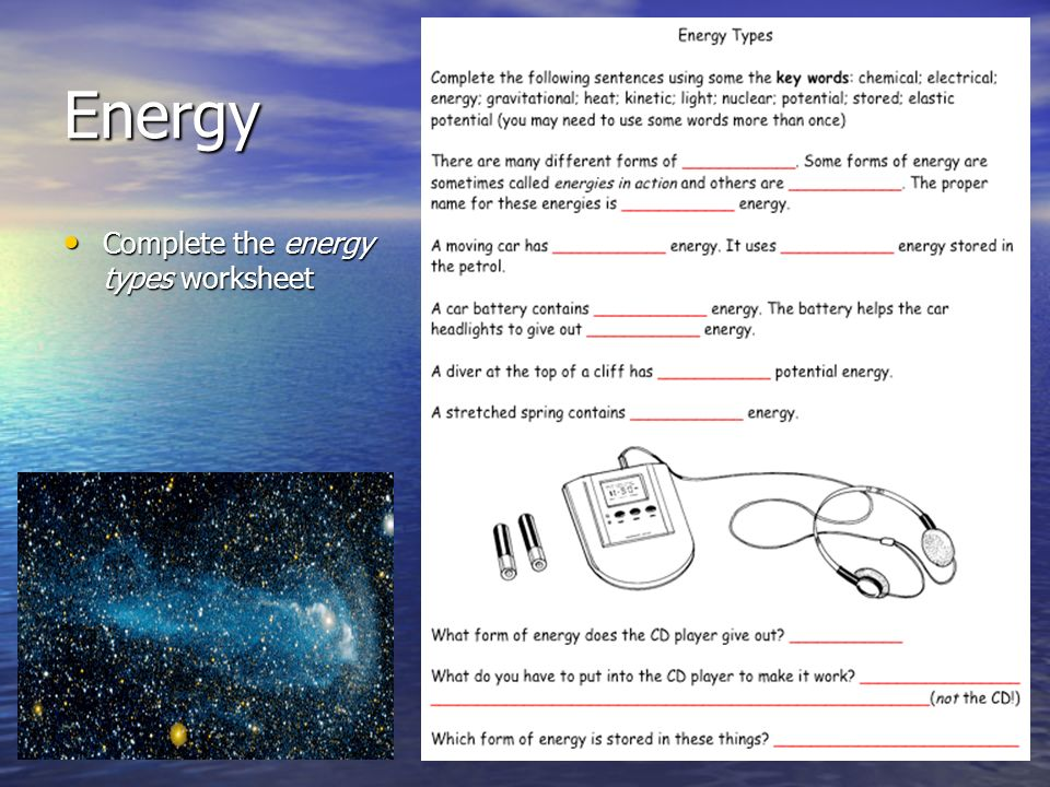 describe different types of energy transfer An introduction to the different types of energy and energy transfers.