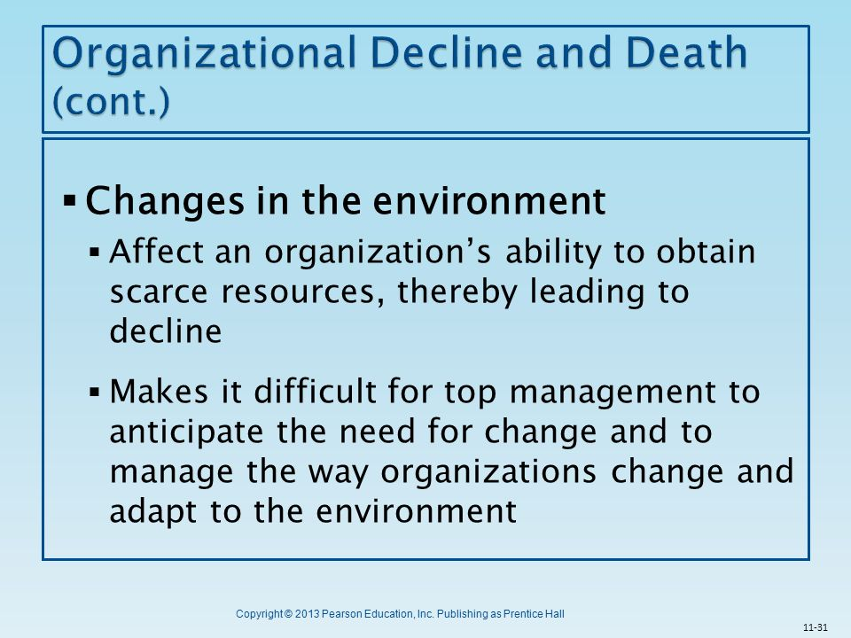 organizational decline Abstract purpose – the aim of this paper is to propose an integrative framework  of organizational decline on the firm-level design/methodology/approach –in.