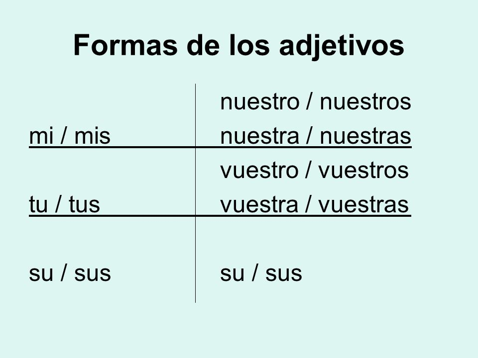 Formas de los adjetivos