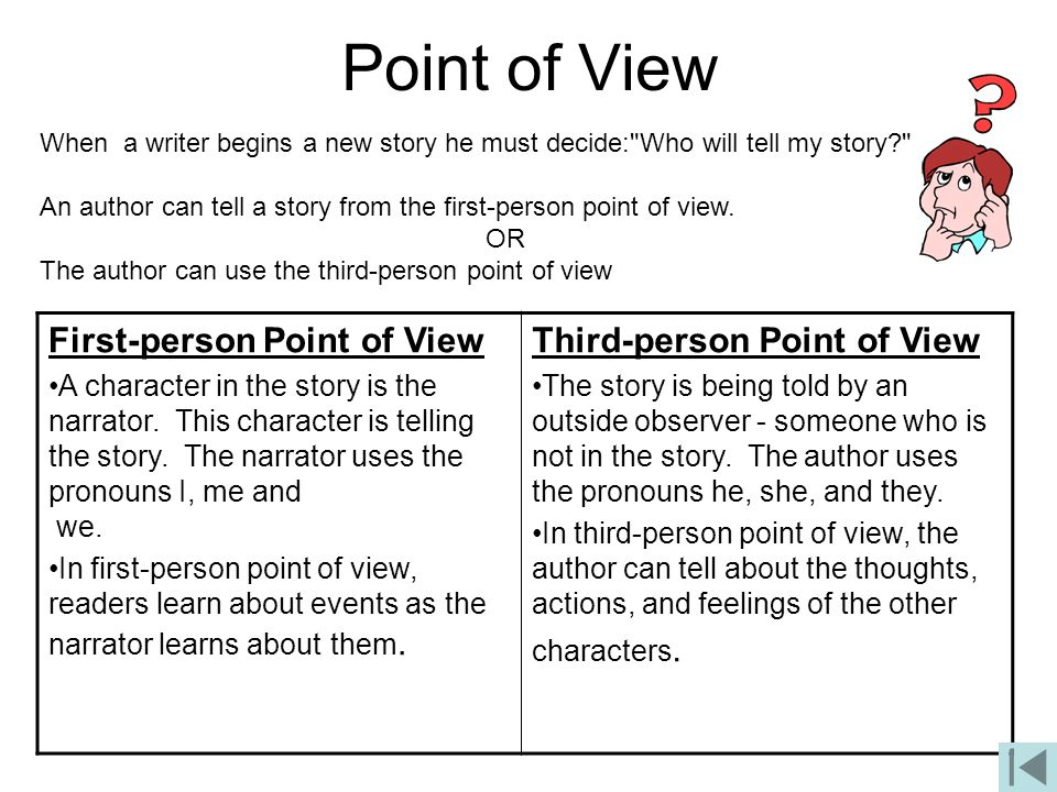 point of view in writing In this point of view, the readers experience the world vicariously through the narrator the advantage of the first person point of view is that you can immediately connect with the reader the disadvantage of using this approach is you're limiting yourself because you're writing from only one perspective.