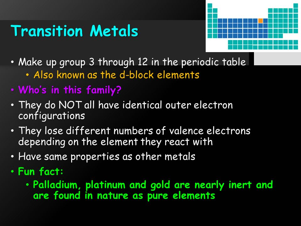 Element families ppt download 10 transition metals make up group 3 through 12 in the periodic table urtaz Choice Image