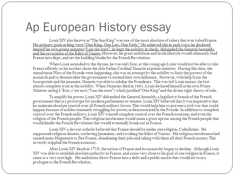 ap european history essay questions absolutism Free-response questions below are free-response questions from ap european history exams administered before the course and exam were redesigned in 2015-16.