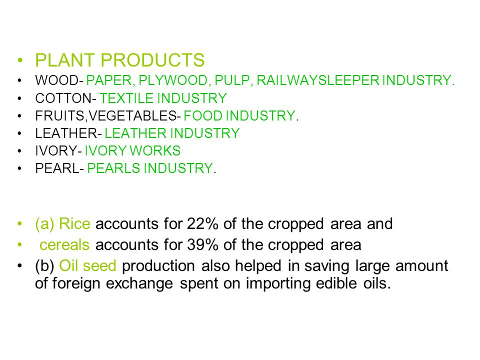PLANT PRODUCTS (a) Rice accounts for 22% of the cropped area and