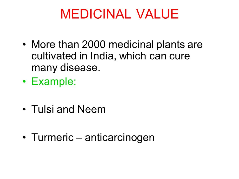 MEDICINAL VALUE More than 2000 medicinal plants are cultivated in India, which can cure many disease.