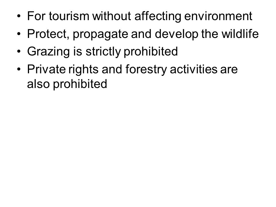 For tourism without affecting environment