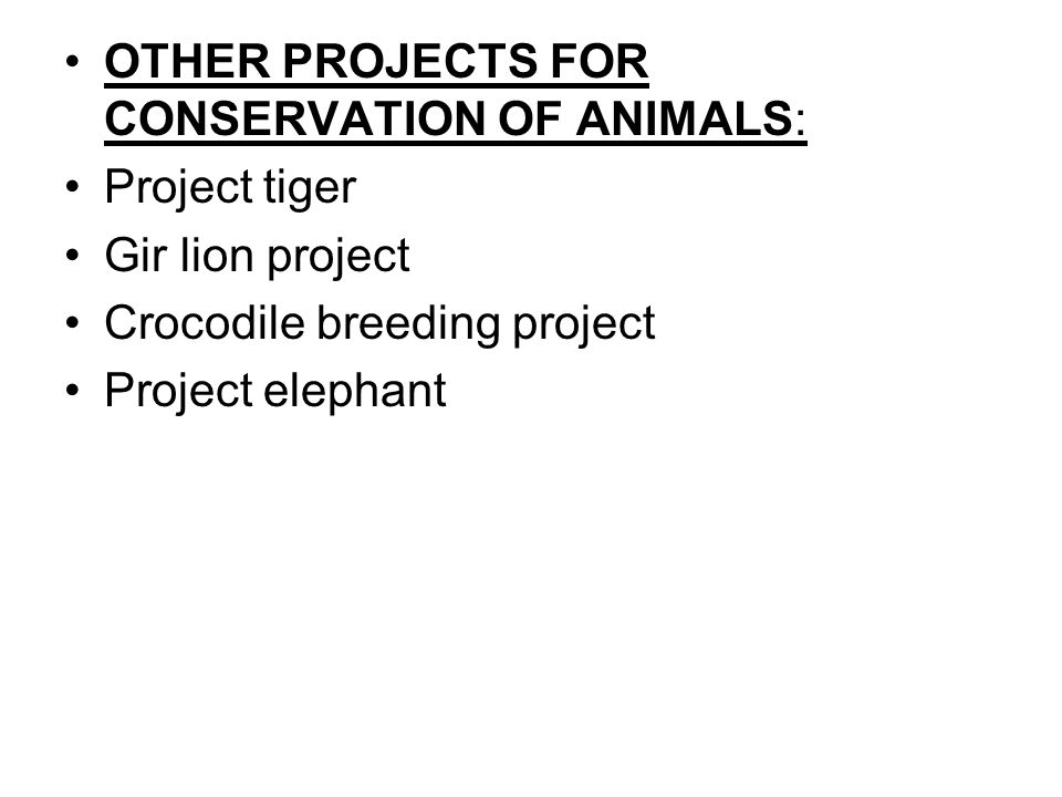 OTHER PROJECTS FOR CONSERVATION OF ANIMALS: