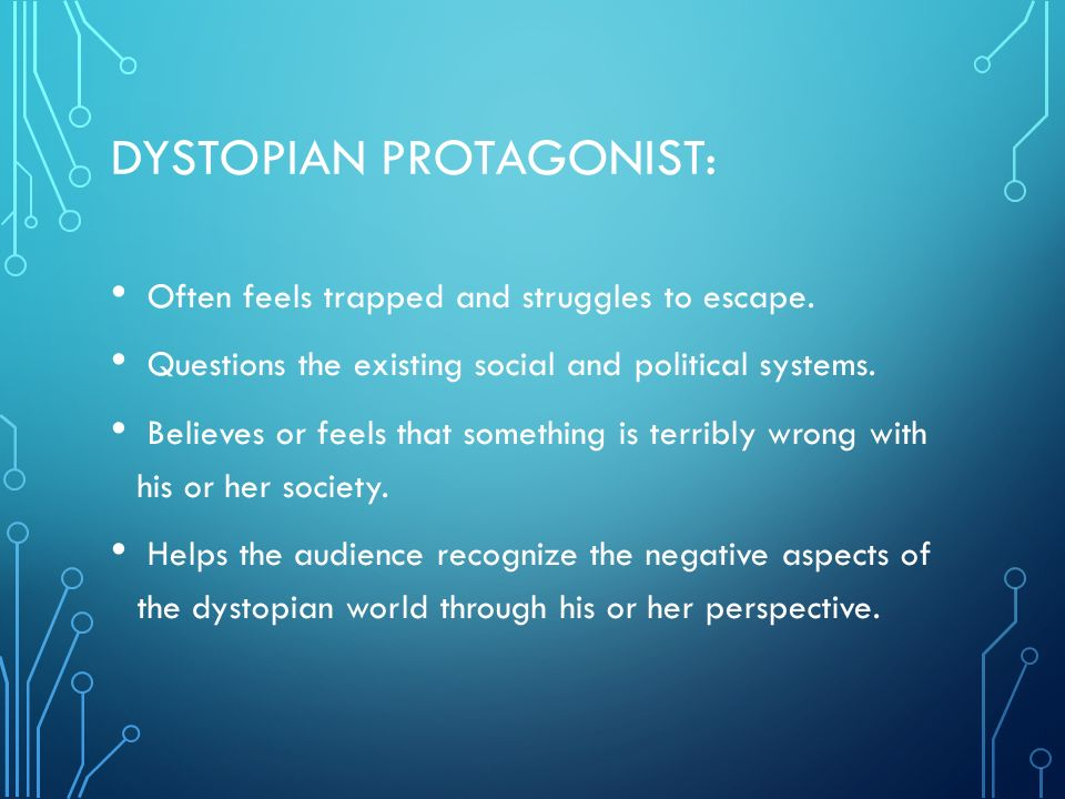a dystopian protagonist Not only is the minority report a dystopian society but also possesses a dystopian protagonist as previously mentionned,.