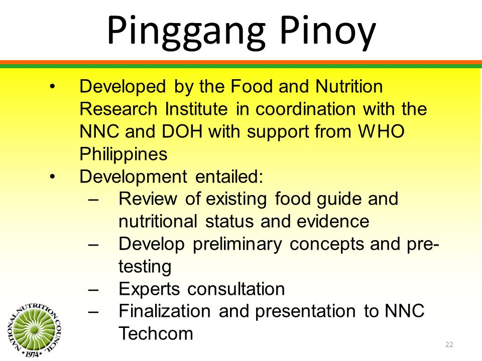Pinggang Pinoy Developed by the Food and Nutrition Research Institute in coordination with the NNC and DOH with support from WHO Philippines.