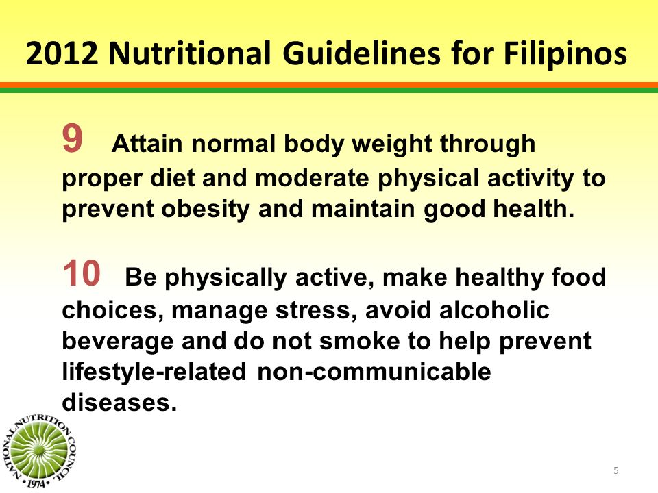 2012 Nutritional Guidelines for Filipinos