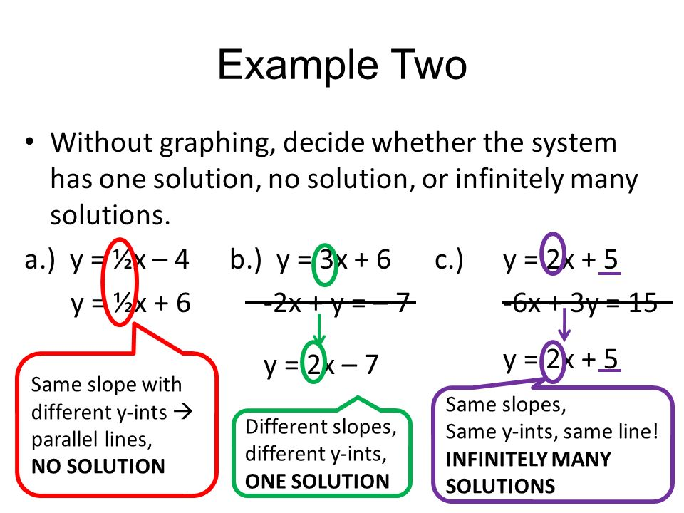 What does it mean if there are an infinite number of solutions for a system of linear equations?