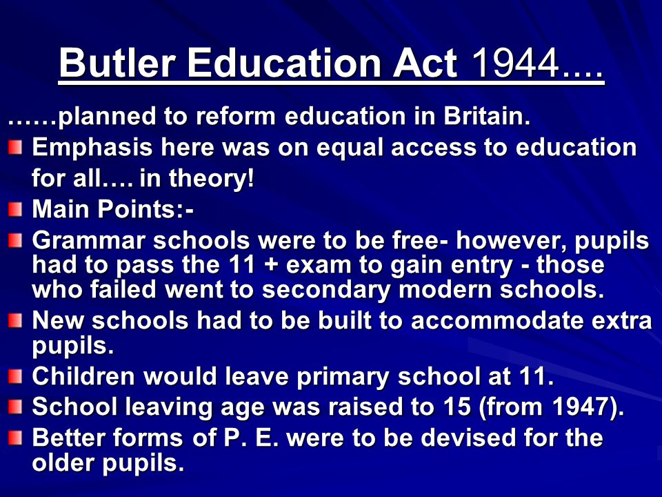 the education act 1944 Education act (with its variations) is a stock short title used for legislation in australia, hong kong, india, malaysia, new zealand, the united kingdom and the united states that relates to education.