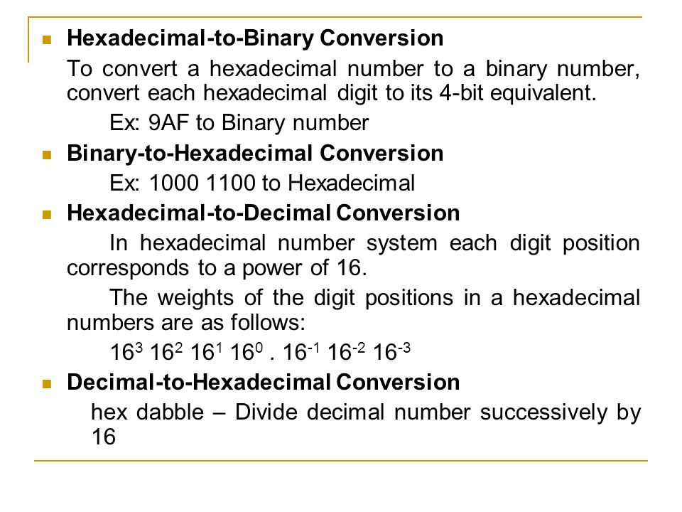 Conversion binary system