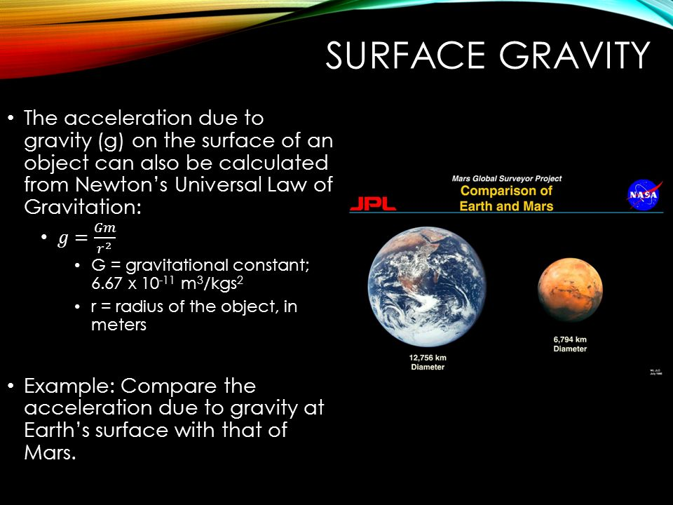 a study on finding the gravitational field of the earth and the other planets The gravitational force above the earth's surface is proportional to 1/r 2, where r is your distance from the center of the earth the radius of the earth at the equator is 6,378 kilometers, so let's say you were on a mountain at the equator that was 5 kilometers high (around 16,400 feet).