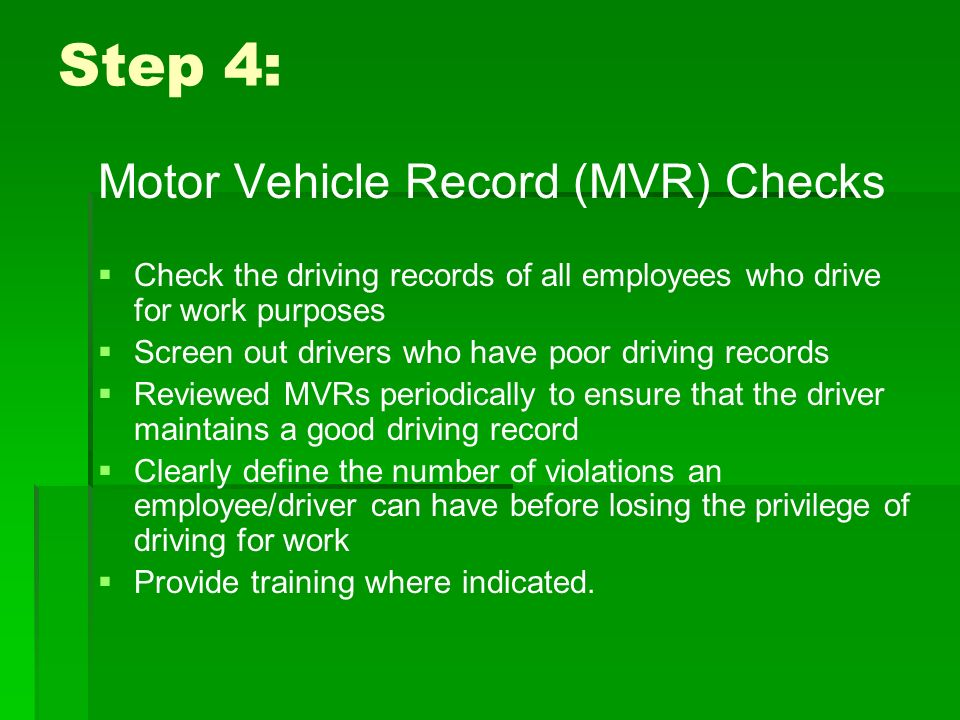 Osha guidelines for employers to reduce motor vehicle for Motor vehicle record check