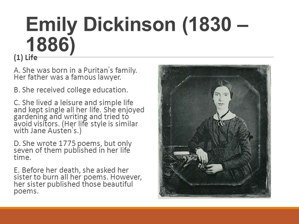 a biography and life work of emily dickinson Biography speculates emily dickinson had finding inspiration in the work of emily dickinson dec important person in emily dickinson's life.