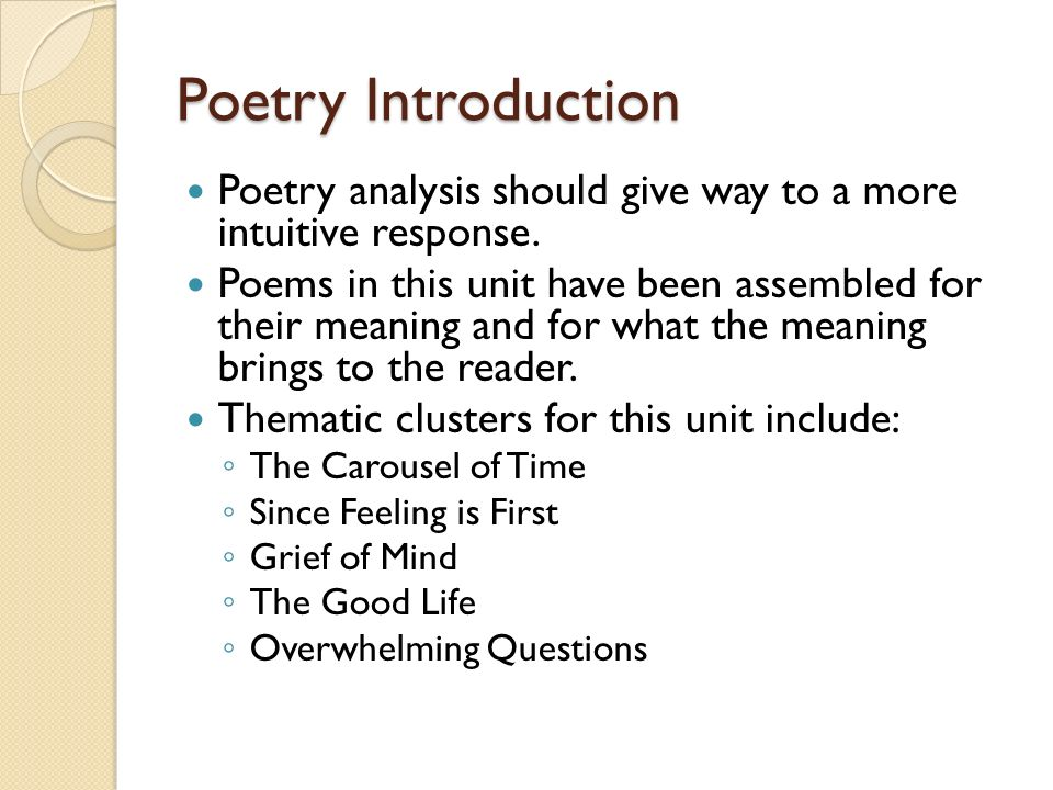 poetry analysis of introduction to poetry Introduction to the humanities sharing what is means to be human browse poems and select one poem for analysis – poetry foundation, poetryarchive, bartleby.
