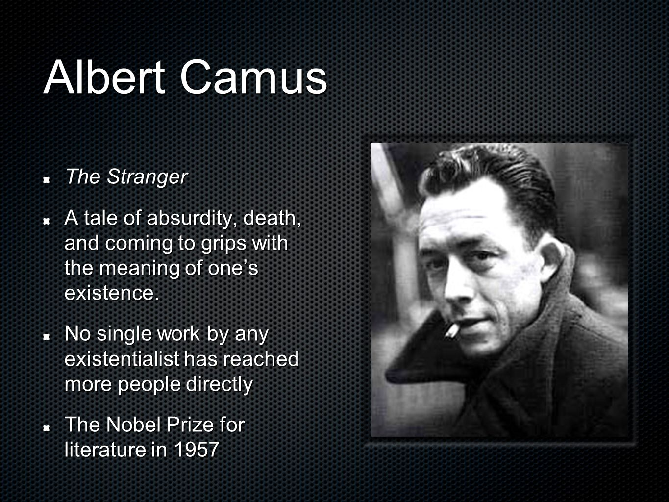 albert camus the stranger existentialism and absurdism essay Albert camus' the myth of sisyphus albert camus' essay, 'the myth of sisyphus' is an 'the stranger' and the absurd albert existentialism in albert camus' the.
