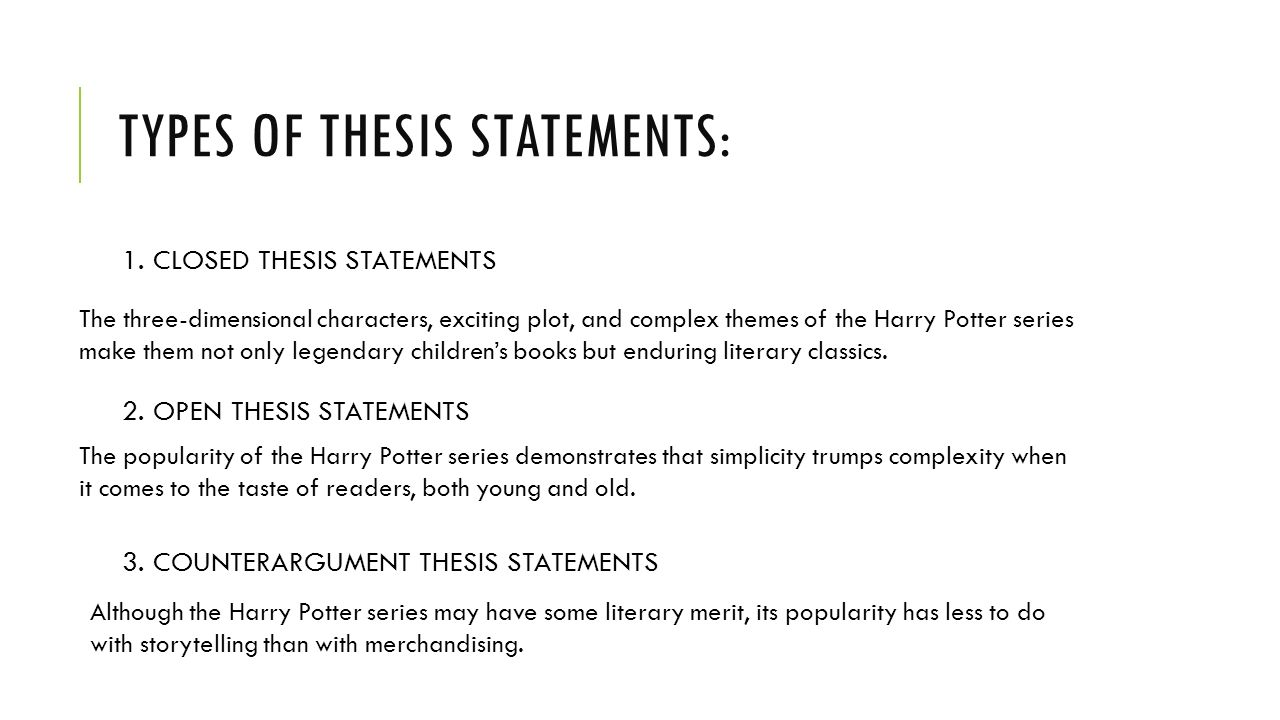 types of thesis statements for research papers A thesis statement presents the position that you intend  whereas research questions are used in major research papers or theses thesis statements  types of.