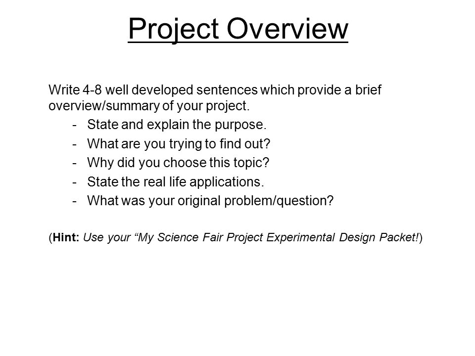 An analysis of the topic of the science fair project