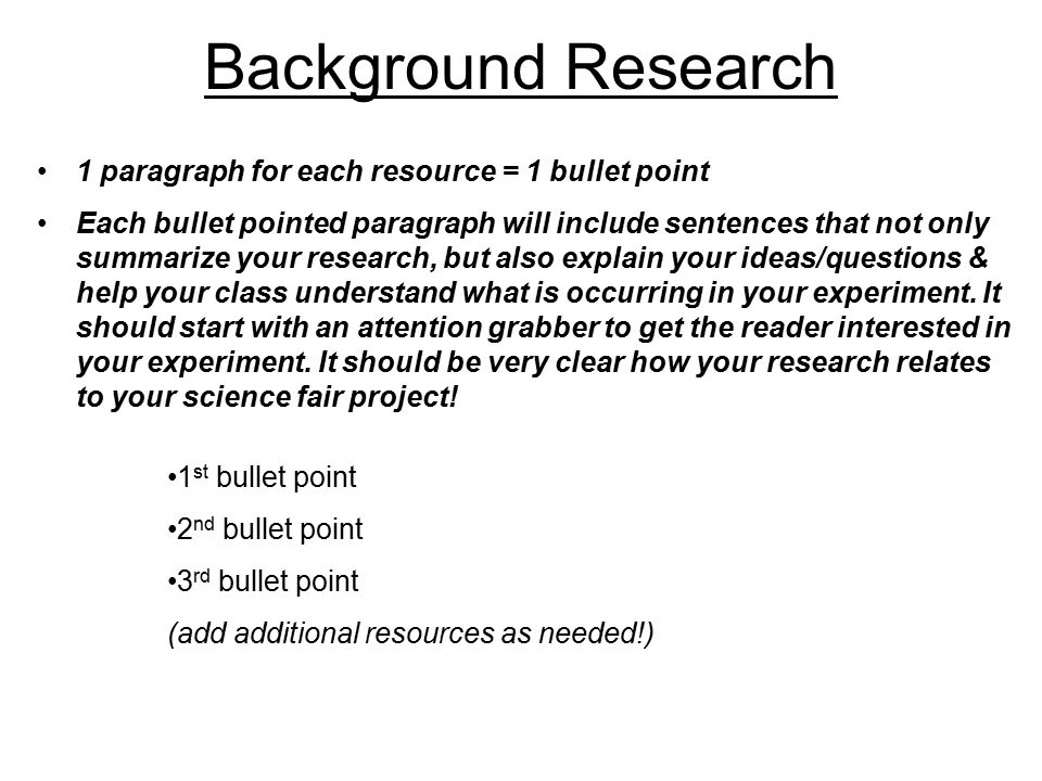 How to write a background research paper for a science fair project