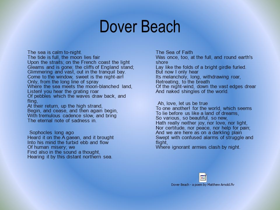 the misery behind beauty in dover beach by matthew arnold Home essays dover beach - tone analysis dover beach - tone analysis in dover beach, matthew arnold's use of diction and to share the visual beauty of.