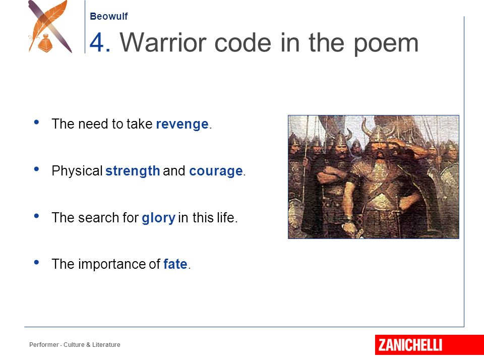 beowulf warrior code essay In beowulf, the anglo-saxon hero is well  the hero in anglo-saxon culture and literature is best defined as an honorable warrior the anglo-saxon hero possessed.