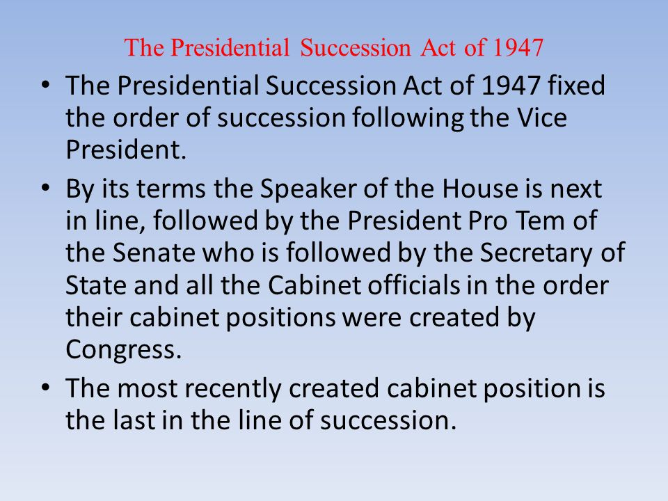 presidential succession in the united states