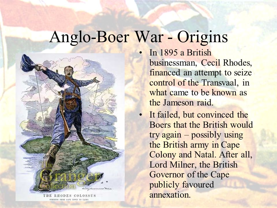 cecil rhodes boer wars Gold found in 1886 by cecil rhodes try weaken and demoralise boer when the boer war started in 1899 volunteers rushed to join up but almost 25% of them.