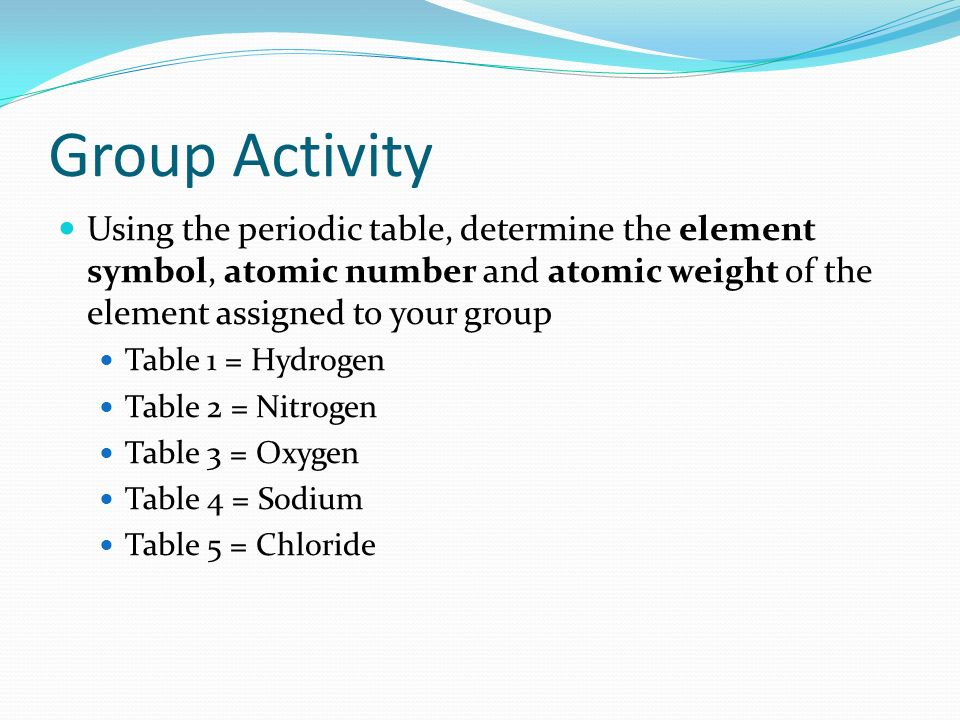 Unit 2 organization and patterns in life ppt download group activity using the periodic table determine the element symbol atomic number and atomic urtaz Choice Image