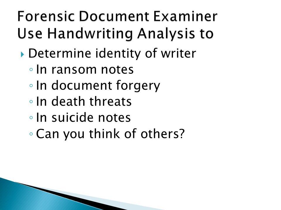 Forensic Handwriting Analysis Expert Introduction To Handwriting Analysis