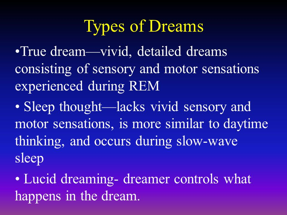 dreaming definition hypothesis types and exploring the concept of lucid dreaming That not only is there benefit to studying lucid dreaming in itself, as this would give  us a  for caution in how we describe and define lucid  sch (space of  consciousness hypothesis)—are  active in a state for which this type of activity.
