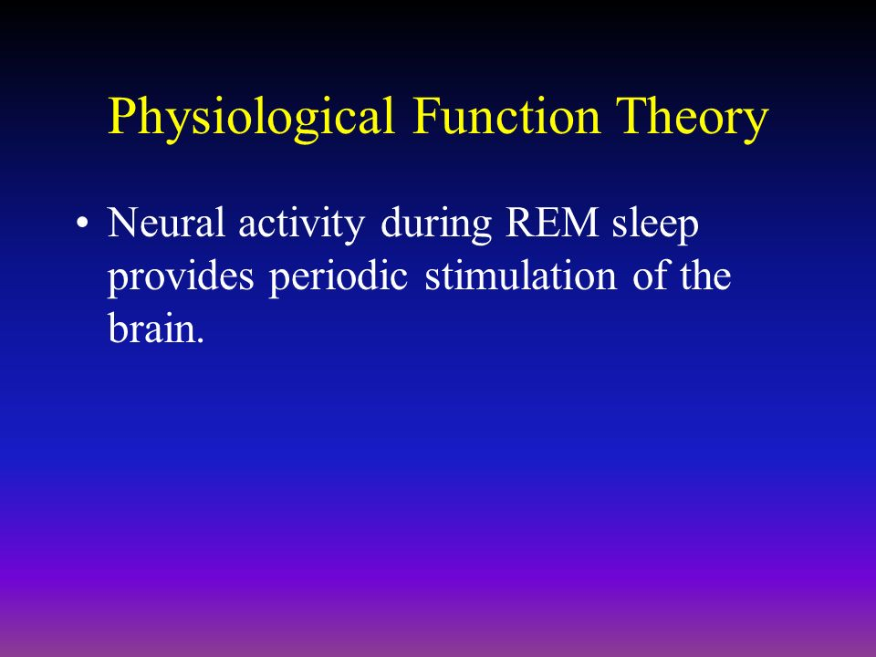 theories attempting to explain the origins and functions of rem sleep Fundamentals of neuroscience/sleep  function of sleep  dreams occur usually only during rem sleep, meaning that even if the theory is true,.