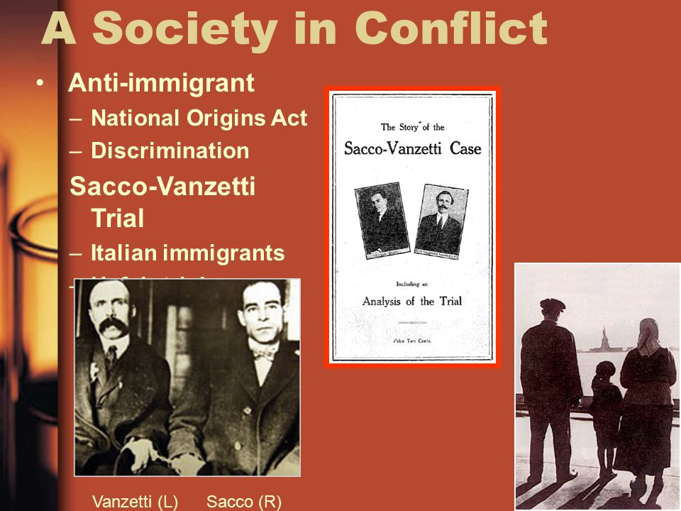 the 1921 sacco vanzetti trial is an example of discrimination against italian immigrants to the us For instance, in 1901, the italian immigrants who had joined the  discriminated  against by union members from other ethnic  an illuminating example of the  inconsistencies of the italian-american labor movement in the interwar years   for the execution of sacco and vanzetti as a turning point, see.