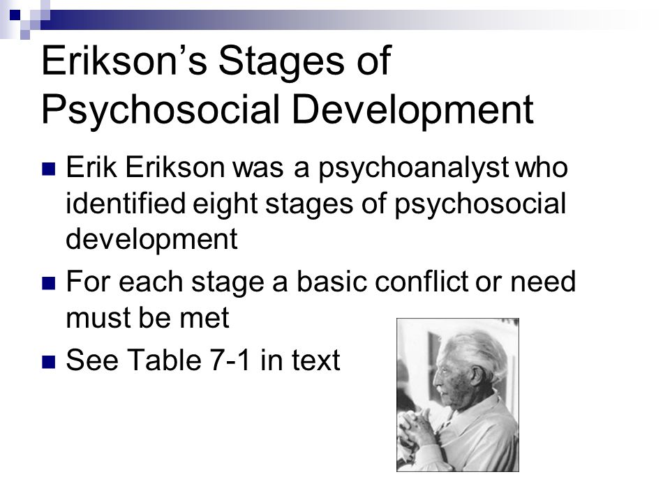 erikson s stages of psychosocial development essay This essay eriksons theory of development and other 63,000+ term papers erik erikson - stages of psychosocial development piaget and cognitive development theory.