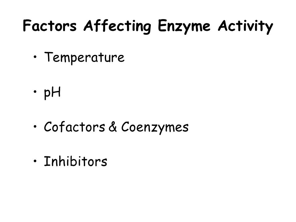 factors affecting enzyme activity At a fixed substrate concentration, an increase in enzyme concentration  increases the rate of an enzyme catalyzed reaction until the substrate.