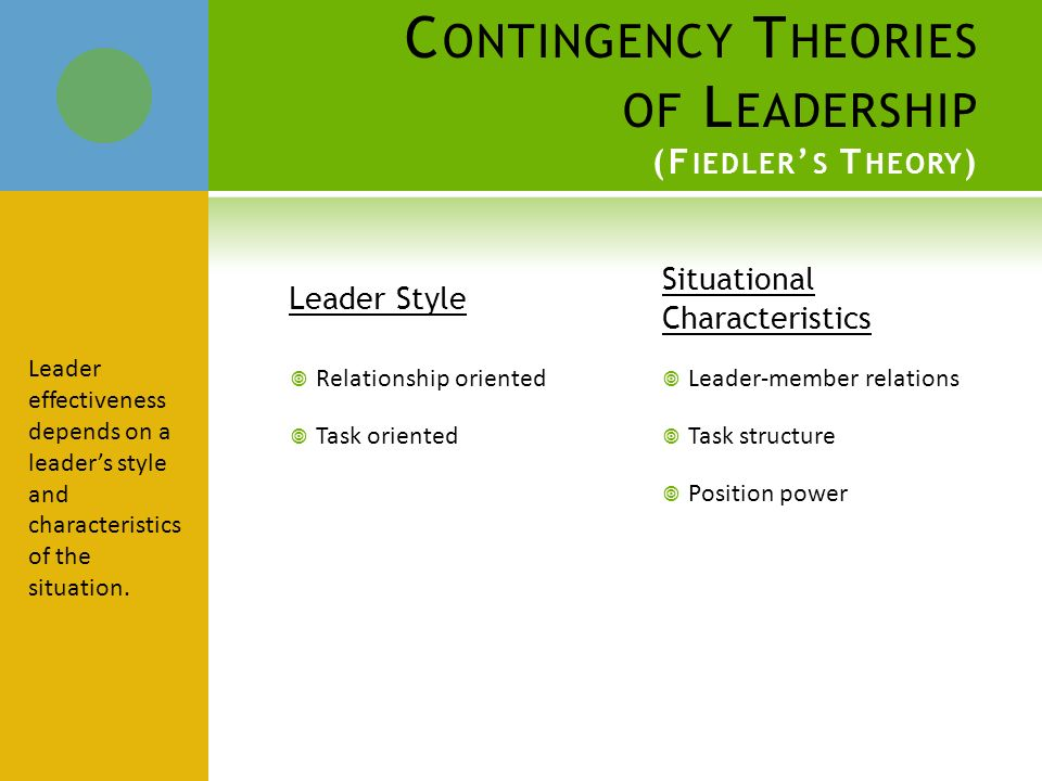 define leadership effectiveness of leaders depends on how their leadership style interrelates with s Is a leader-match theory (fiedler & chemers, 1974)-tries to match leaders to appropriate situations leader's effectiveness depends on how well the leader's style fits the context fiedler's generalizations about which styles of leadership are best and worst are based on empirically grounded generalizations effective leadership depends on.