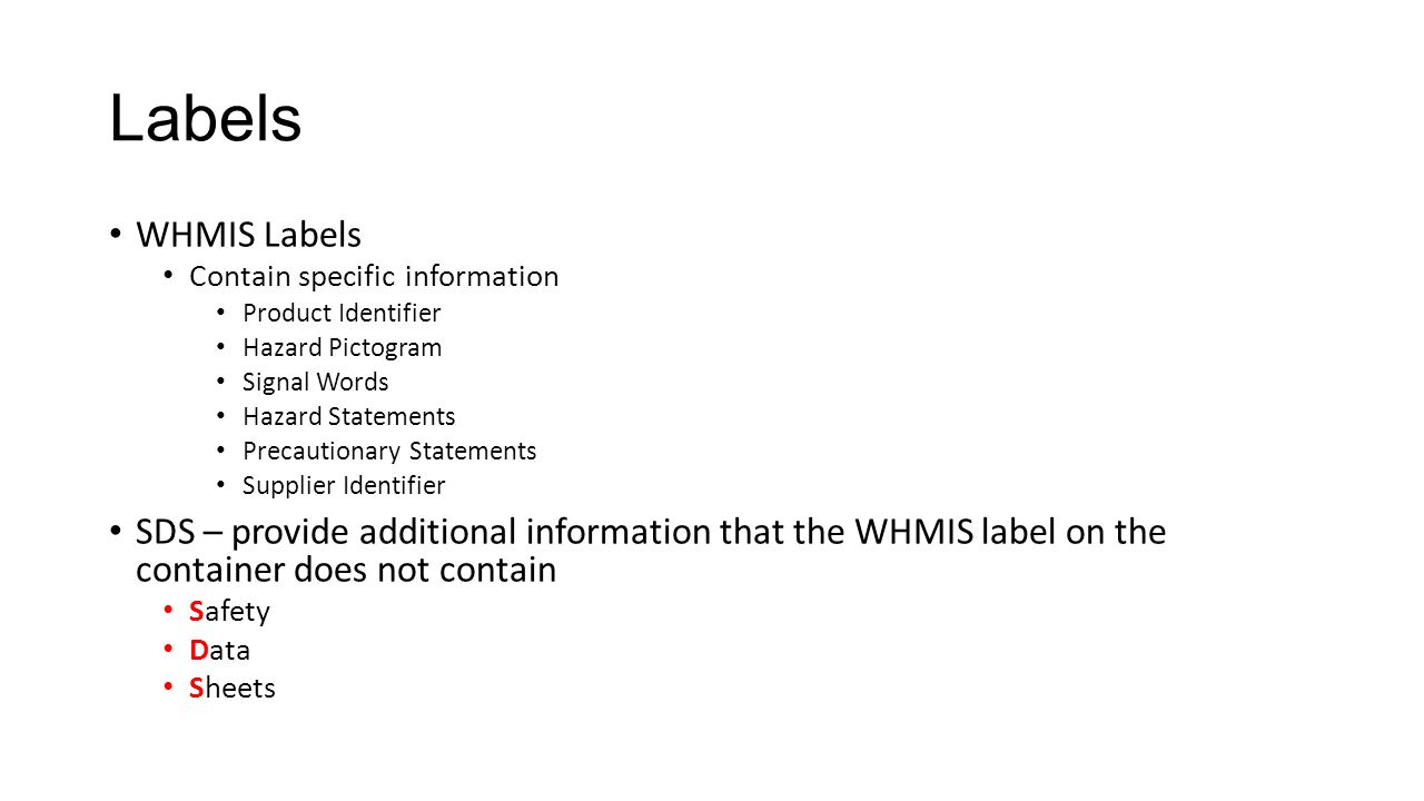 Safety symbols and labels ppt download labels whmis labels contain specific information product identifier hazard pictogram signal words buycottarizona Gallery