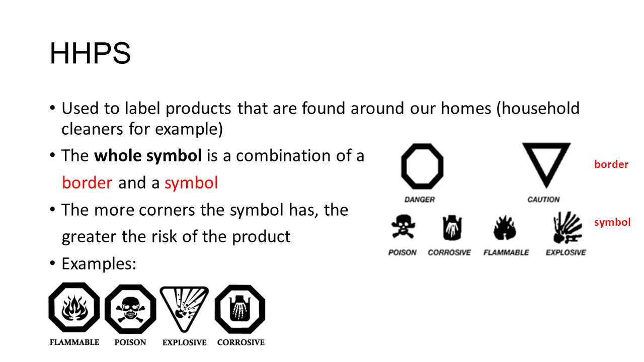 Safety symbols and labels ppt download hhps used to label products that are found around our homes household cleaners for example buycottarizona