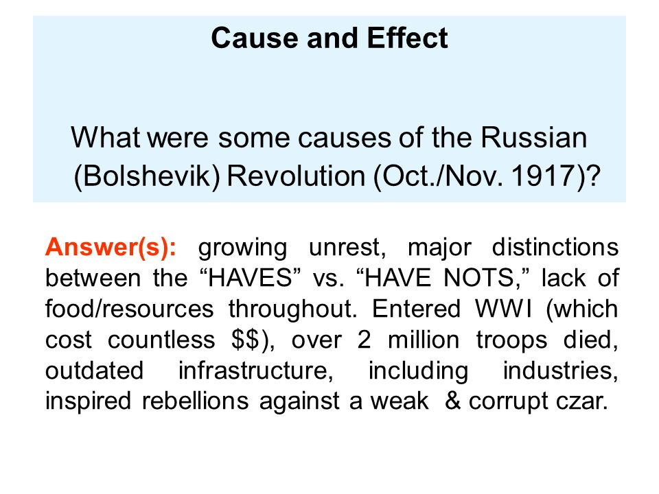 the main causes of the russian The social causes of the russian revolution mainly came from centuries of oppression of the lower classes by the  the main problems were food shortages and rising.