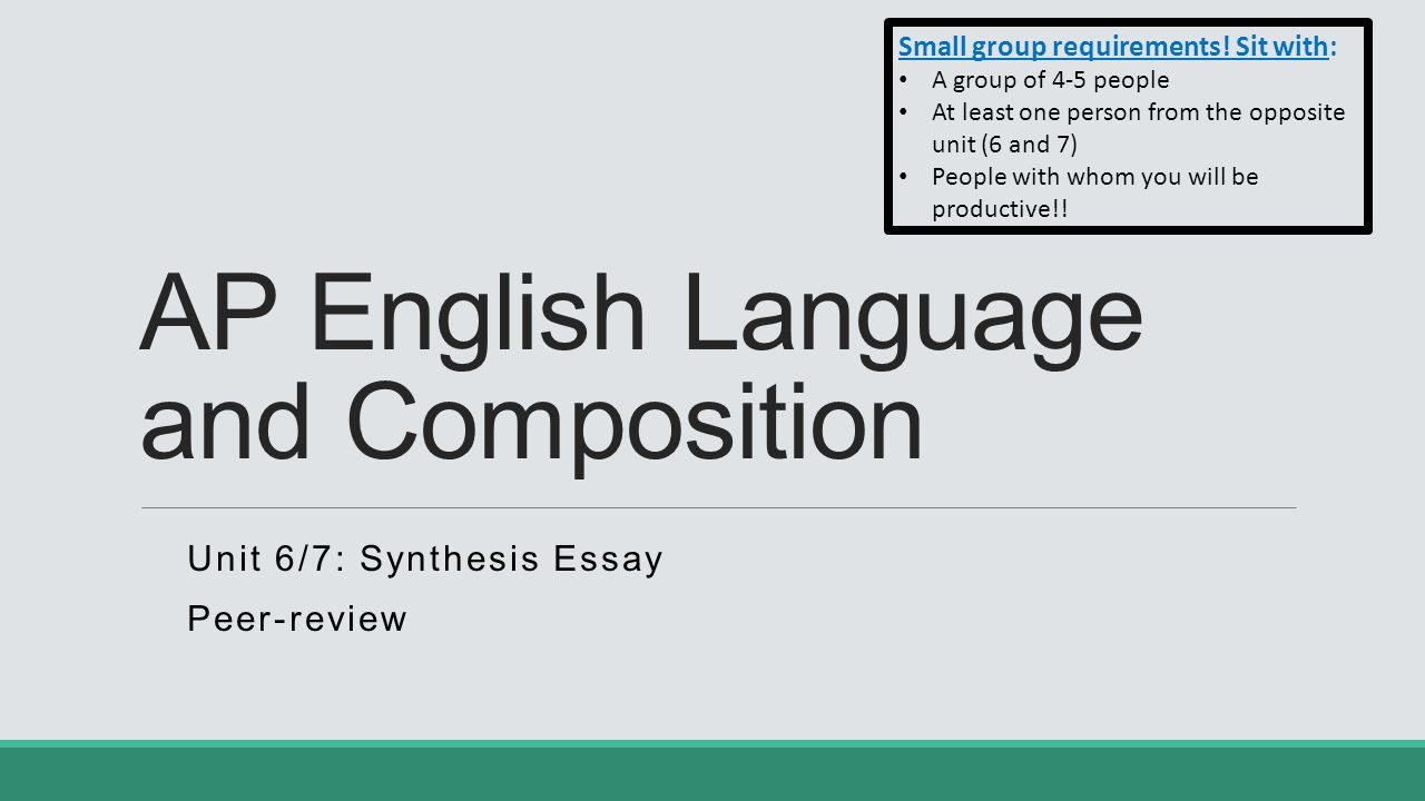 ap lang synthesis Advanced placement english language and composition (commonly abbreviated to ap lang or ap comp) is a course and examination offered by the college board as part of.