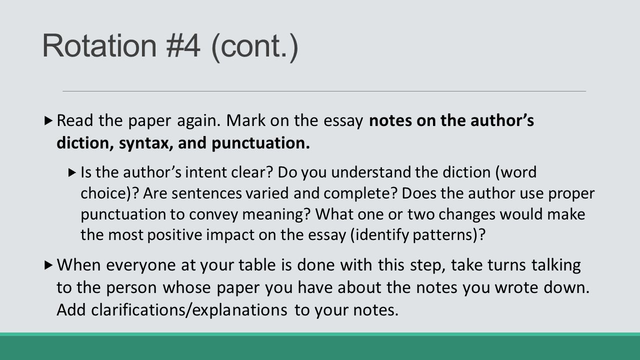 ap english language and composition ppt rotation 4 cont the paper again mark on the essay
