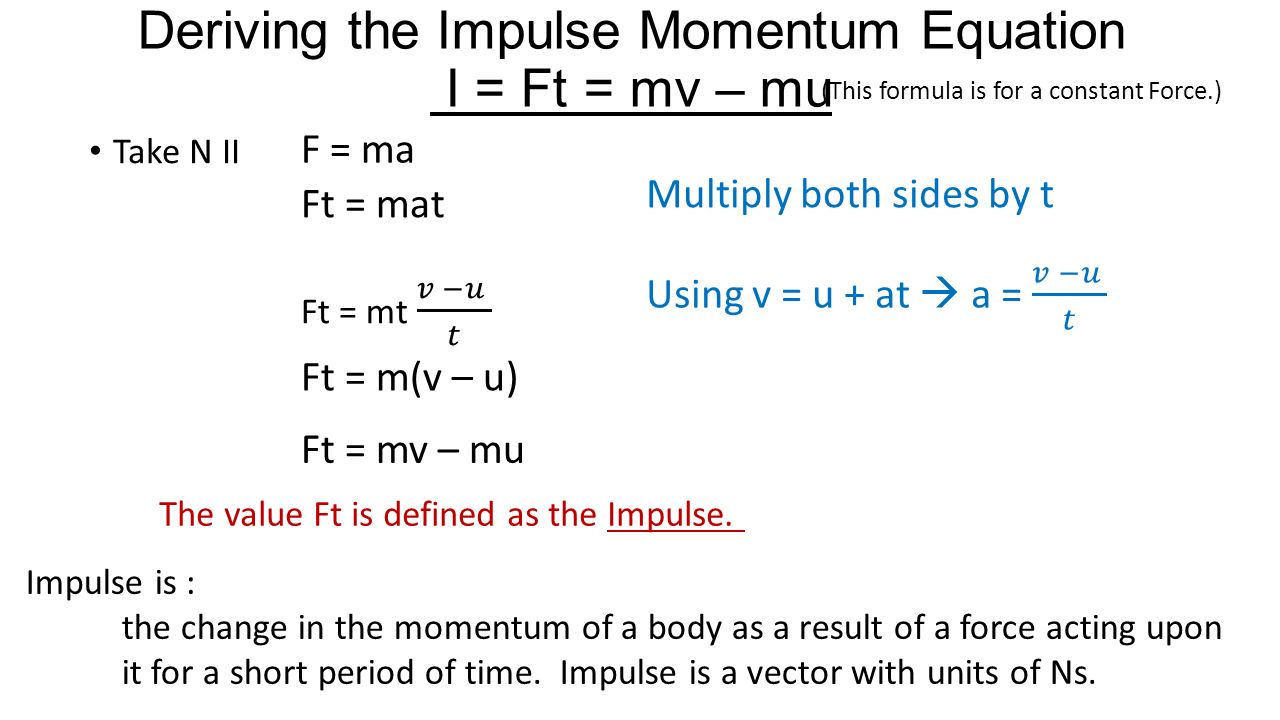 impulse and momentum If the force depends on time, the change in momentum (or impulse j) between times t 1 and t 2 is.